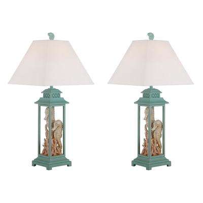 32.5 in. Sky Blue Indoor Table Lamp Set