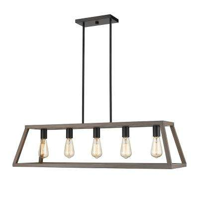 Agnes II 5-Light Wood Painting and Matte Black Socket LED Pendant
