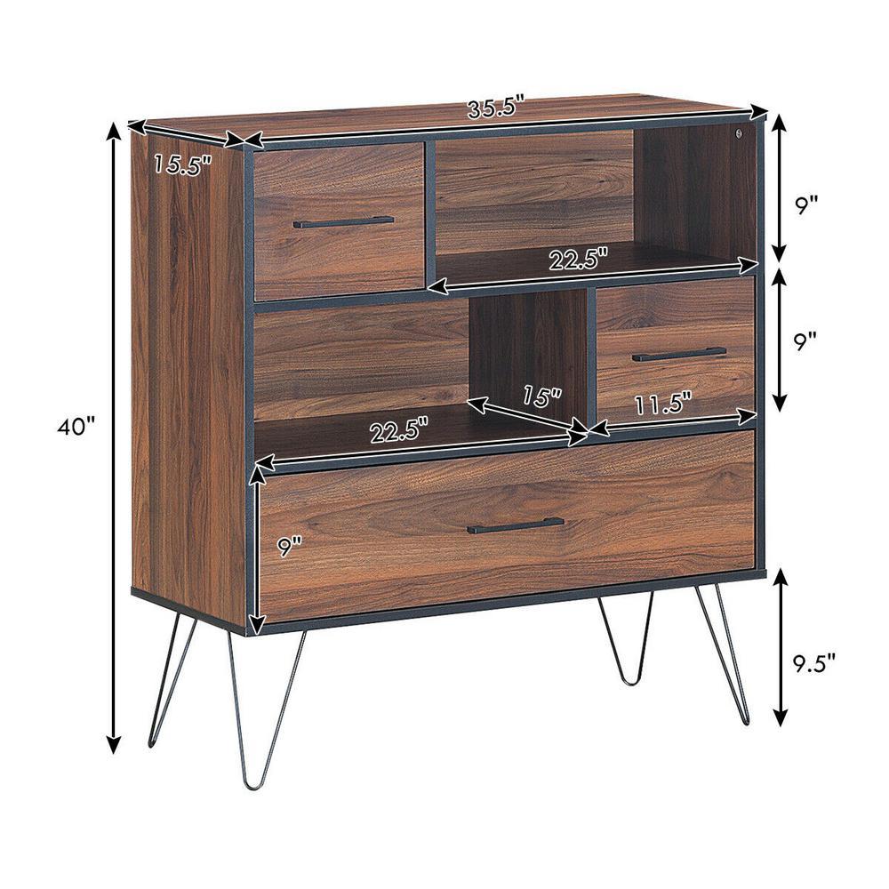 Vintage 4 Drawer High Dresser Drawer Chest Storage Cabinet Metal Leg Home Office