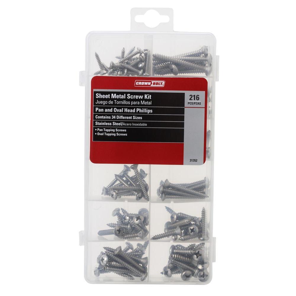 Crown Bolt Stainless Steel Sheet Metal Screw Kit