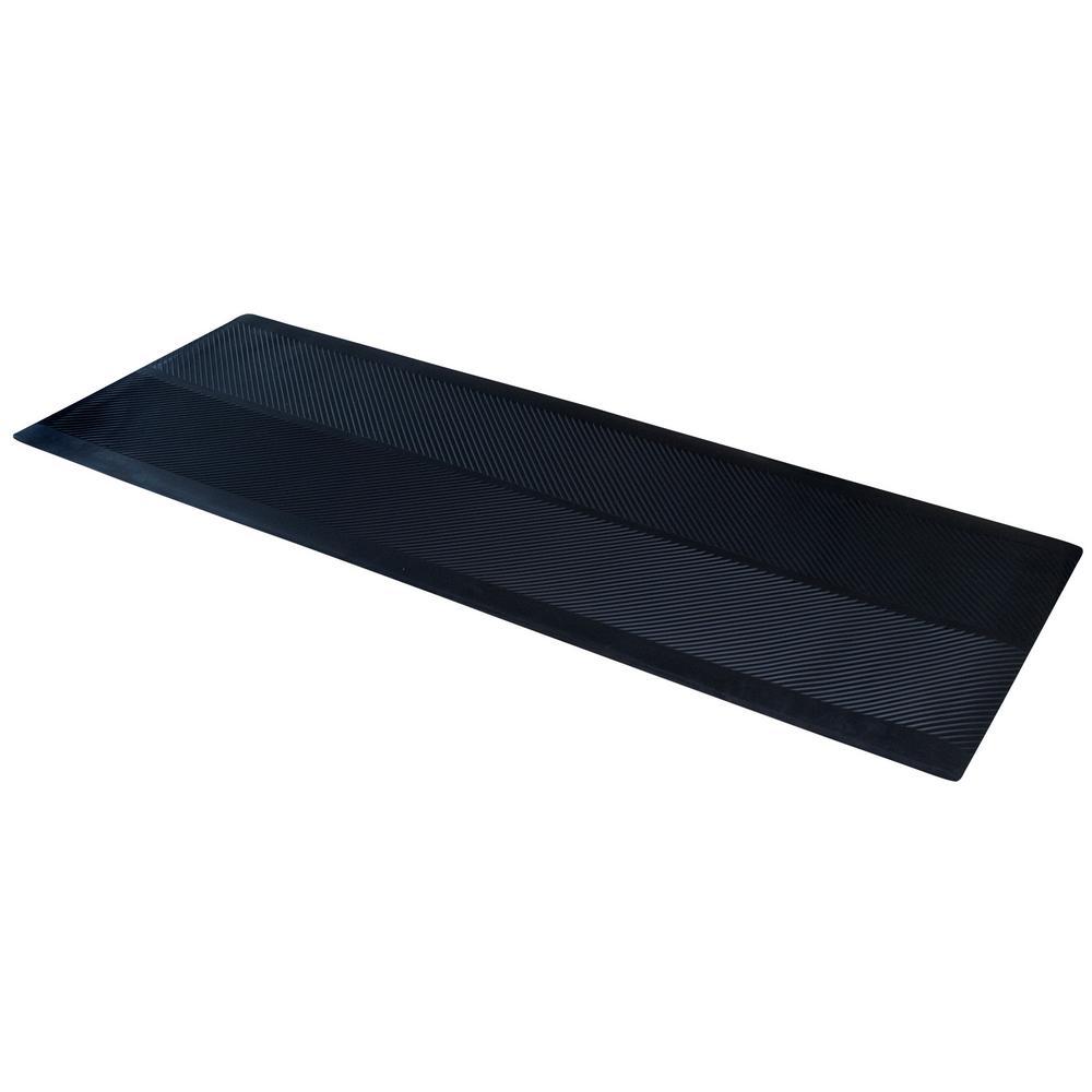 Indoor/Outdoor Black 27 in. x 120 in. Rubber Runner Mat
