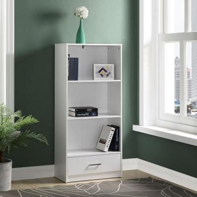 51.2 in. White Wood 3-shelf Standard Bookcase with Drawers
