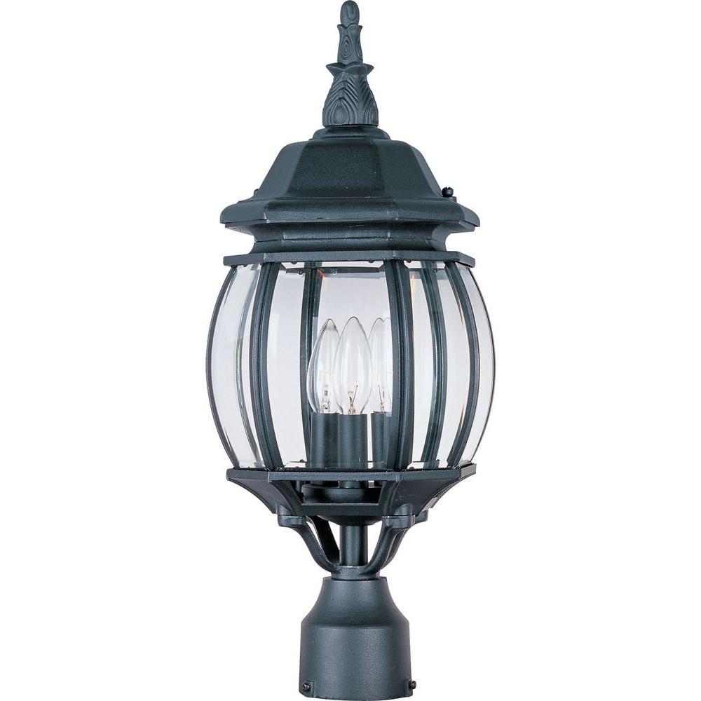 Maxim Lighting Crown Hill 3-Light Black Outdoor Pole/Post Mount