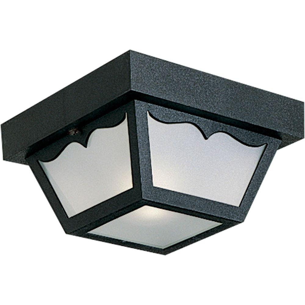 outdoor flush mount light led progress lighting black outdoor flushmount flushmountp574431 the home depot