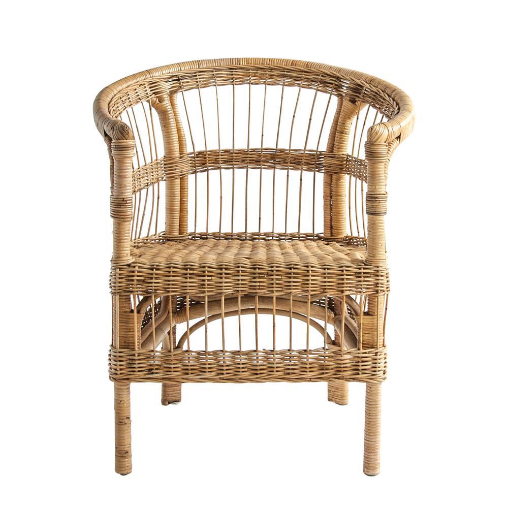 Beige Handwoven Rattan Arm Chair