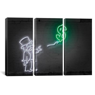"""Rich Uncle Pennybags (aka Mr. Monopoly) With A Balloon"" by Octavian Mielu Canvas Wall Art"