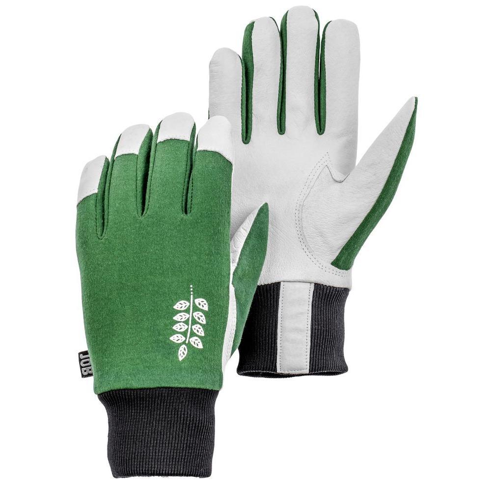 Job Garden Facilis Size 8 Medium Lightweight Pigskin Leather Glove Green/Black/White