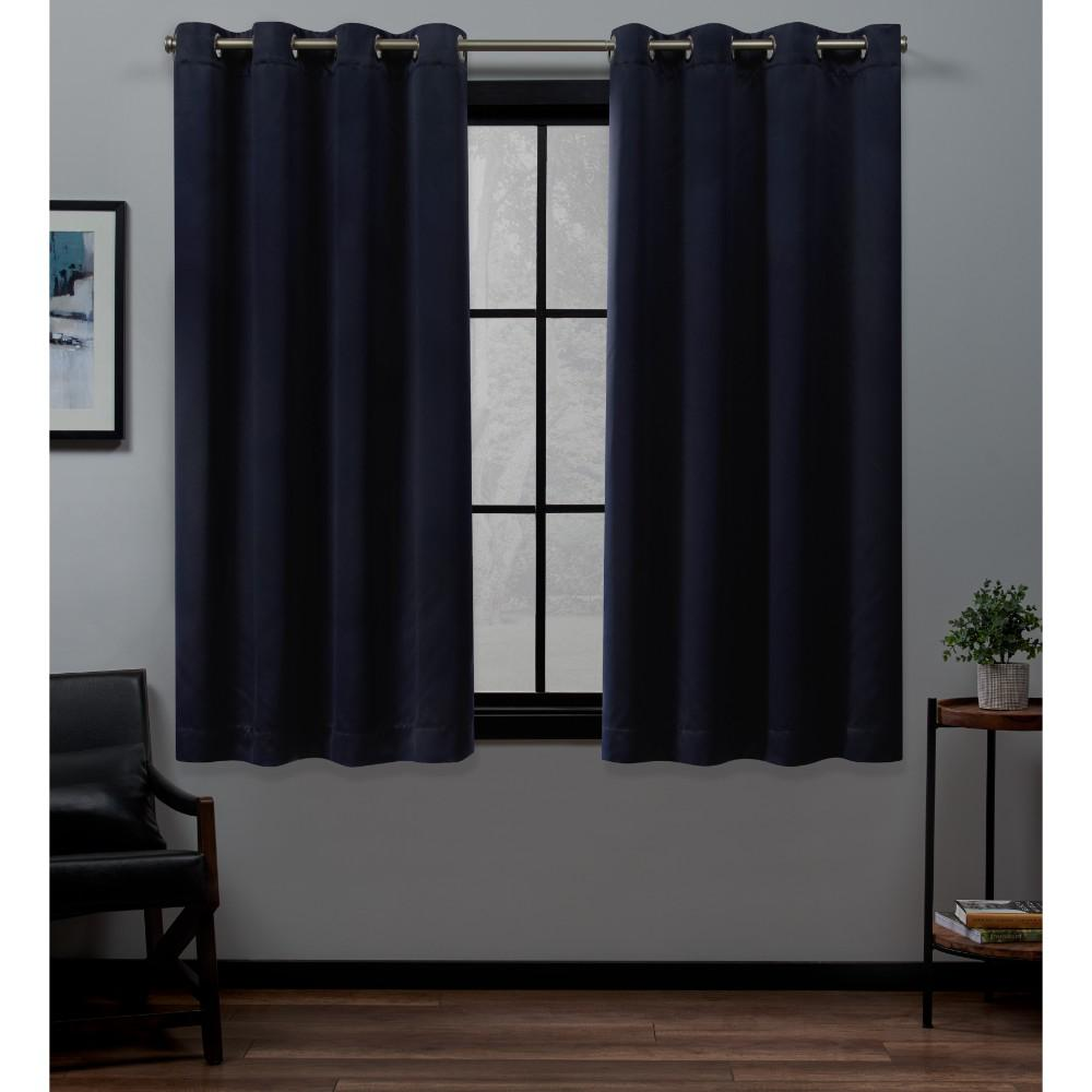 Exclusive Home Curtains Academy 52 in. W x 63 in. L Woven Blackout Grommet Top Curtain Panel in Navy (2 Panels)