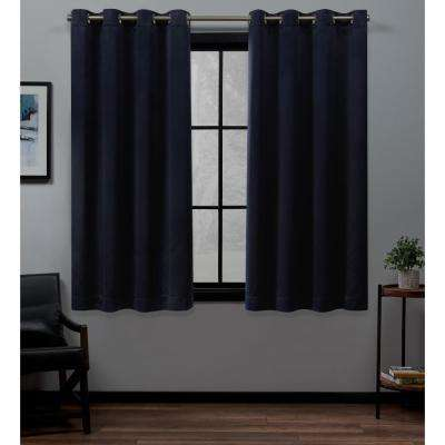 Academy 52 in. W x 63 in. L Woven Blackout Grommet Top Curtain Panel in Navy (2 Panels)