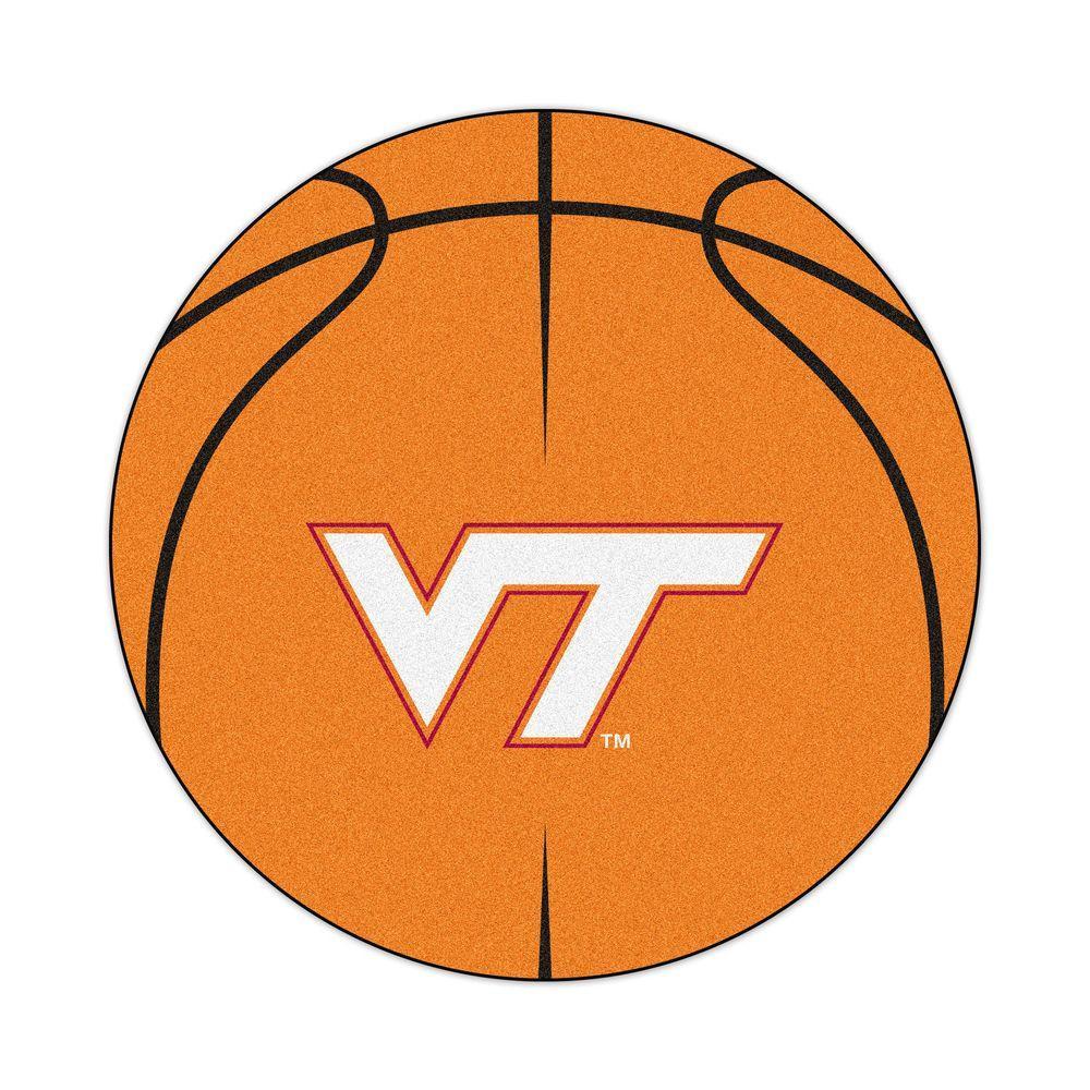 NCAA Virginia Tech Orange 2 ft. x 2 ft. Round Area Rug
