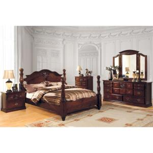 Tuscan II Queen Bed in Glossy Dark Pine