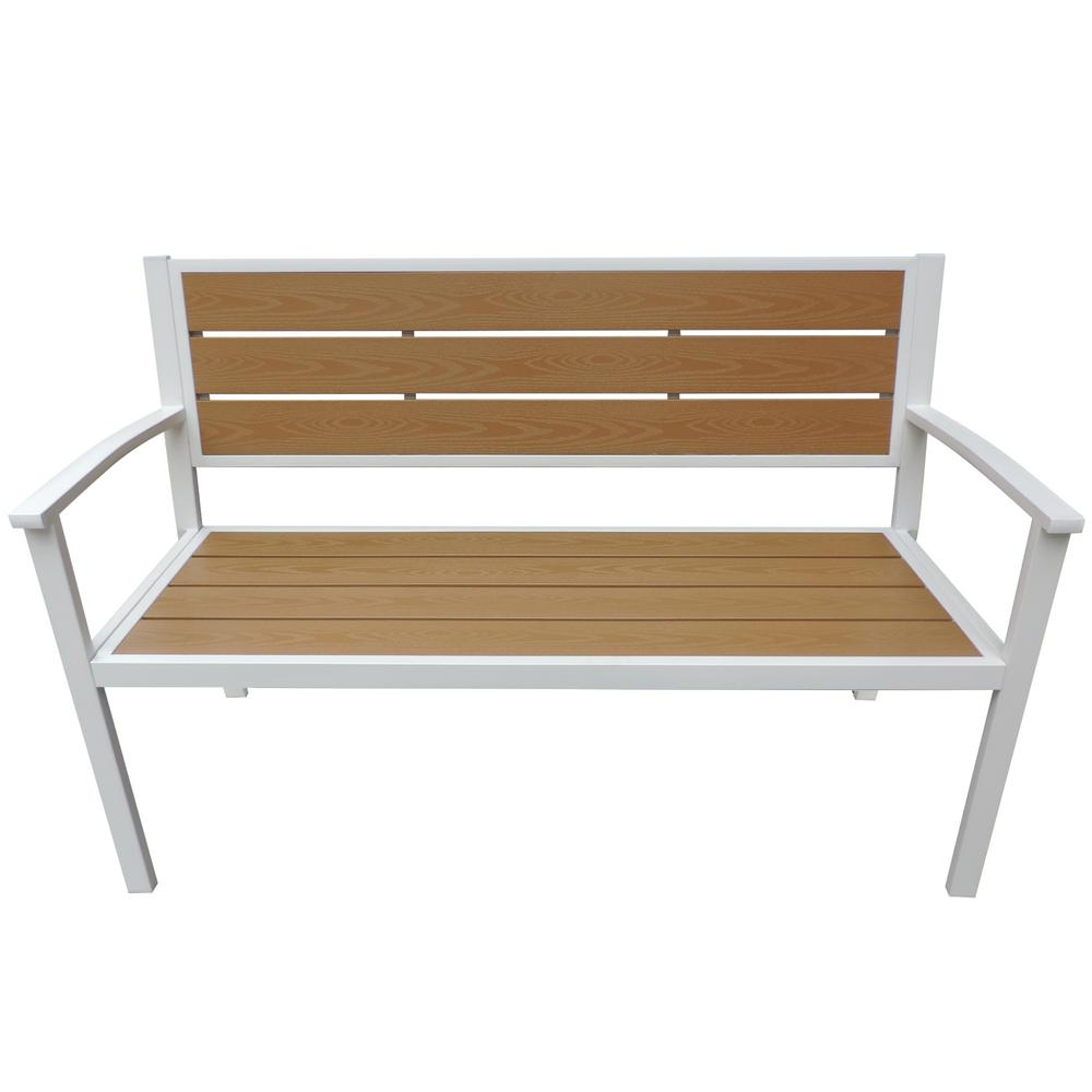 Superb Island Retreat White Frame Wood Finish Patio Bench Pabps2019 Chair Design Images Pabps2019Com