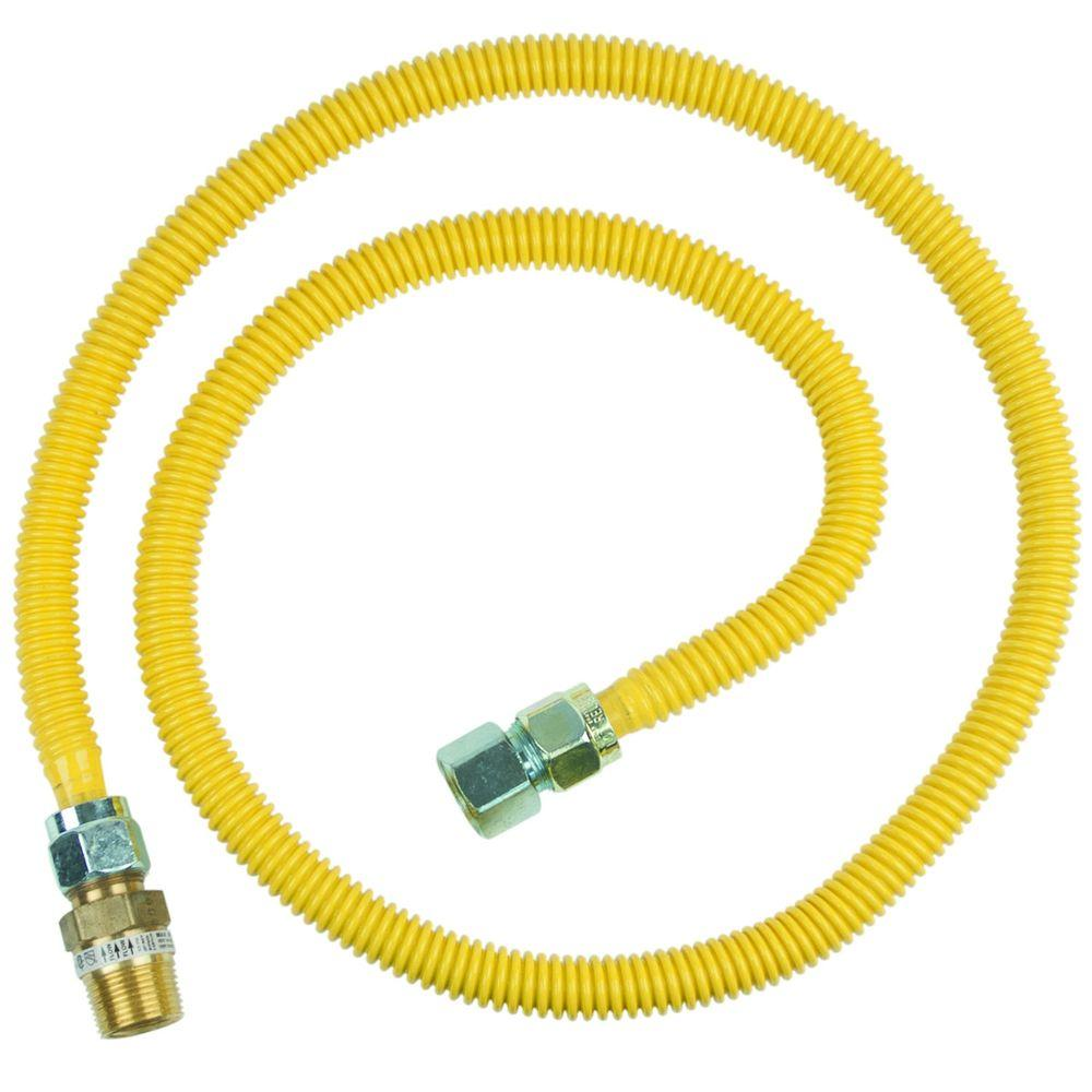 BrassCraft Safety+PLUS 3/4 in. MIP Excess Flow Valve x 3/4 in. FIP x 60 in. Stainless Steel Gas Connector 5/8 in. O.D.(93,200 BTU)