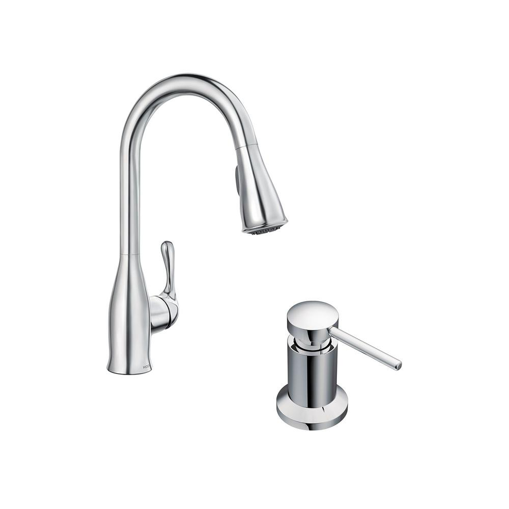 MOEN Kaden Single-Handle Pull-Down Sprayer Kitchen Faucet with Reflex in  Chrome with Soap Dispenser