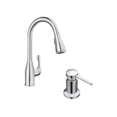 Kaden Single-Handle Pull-Down Sprayer Kitchen Faucet with Reflex, Power Clean and Soap Dispenser in Chrome