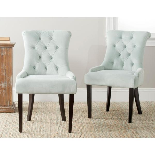 Safavieh Bowie Light Blue/Espresso Cotton Side Chair (Set of 2) MCR4712A-SET2