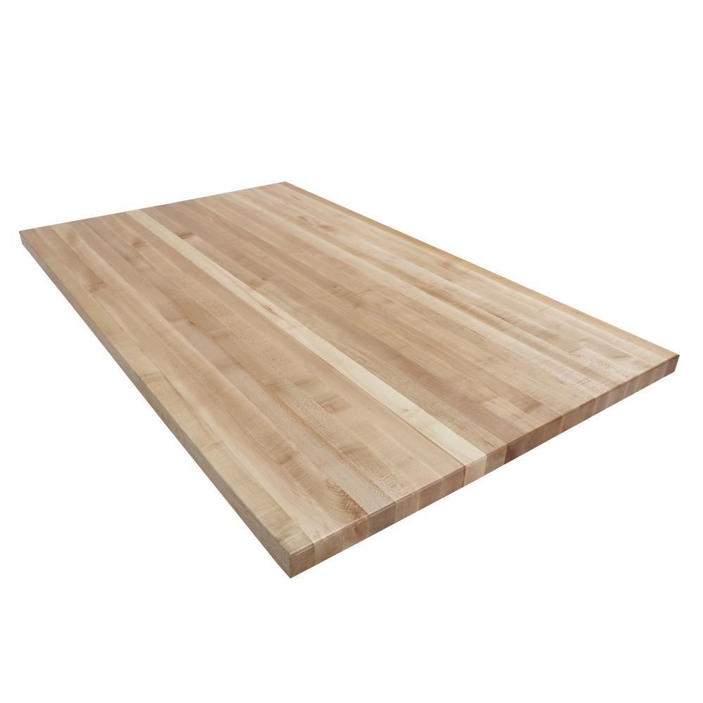 5 ft l x 3 ft d x in t butcher block countertop in finished maple olaga06036 the home. Black Bedroom Furniture Sets. Home Design Ideas