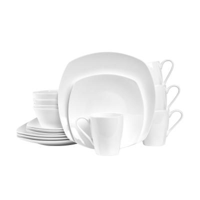 16-Piece Casual White Bone China Dinnerware Set (Set for 4)