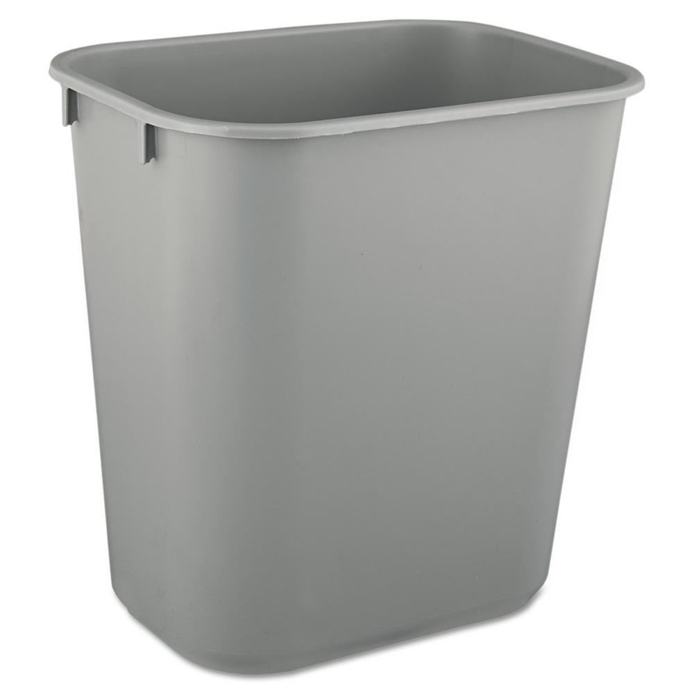 3.5 Gal. Gray Rectangular Deskside Trash Can