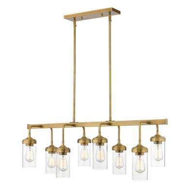 Lopia 8-Light Foundry Brass Pendant with Clear Glass Shade