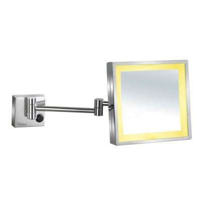 9-7/8 in. x 11-3/4 in. Square Framed LED Lighted Wall Mounted Mirror in Polished Chrome with 5X Magnification