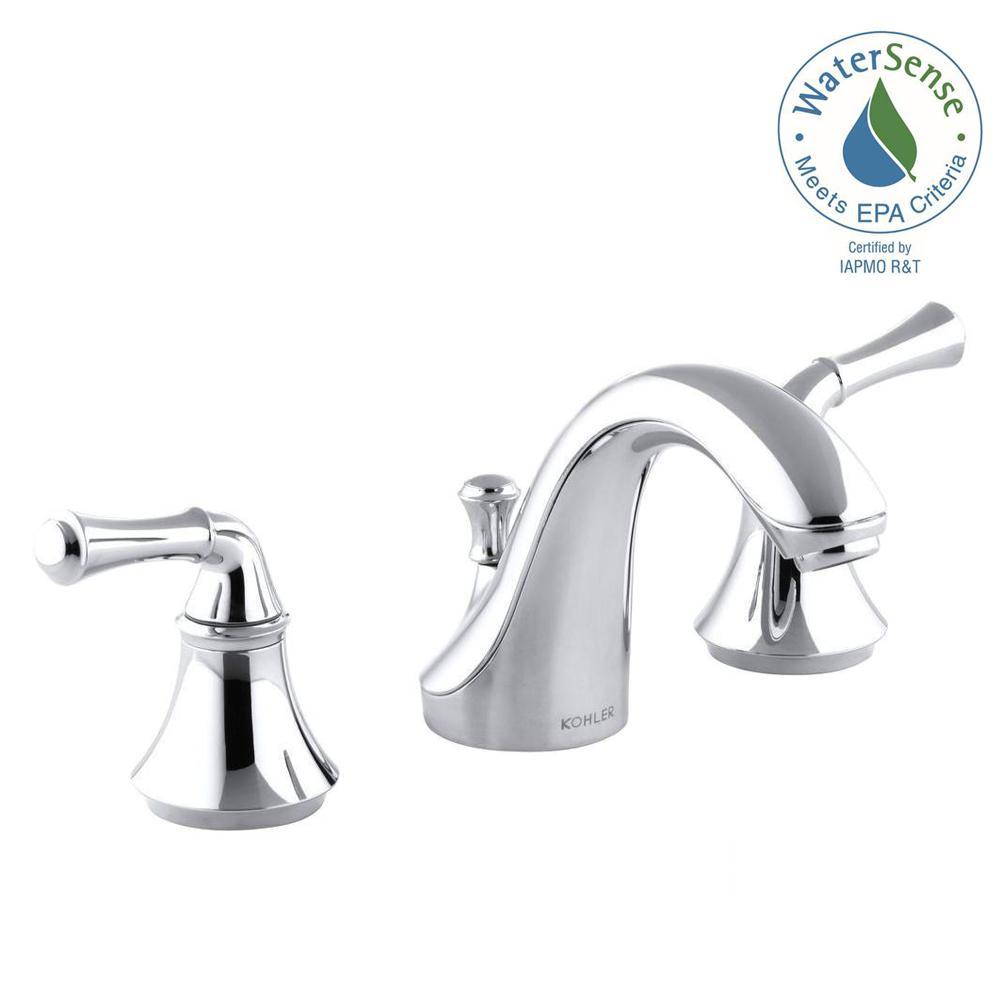 Kohler forte 8 in widespread 2 handle low arc water for Kohler bathroom sink faucets widespread
