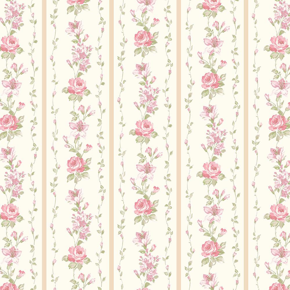 Norwall Red Rose Stripe Wallpaper