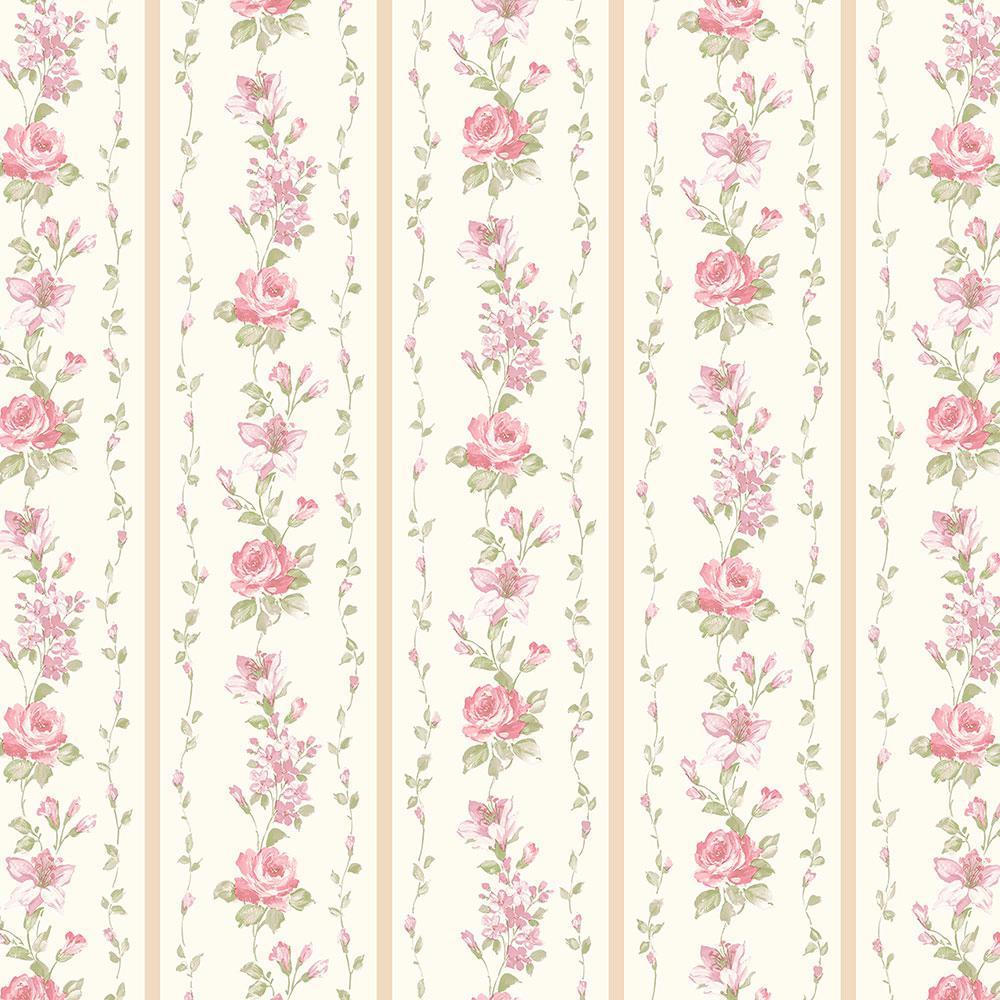 Norwall Red Rose Stripe Wallpaper