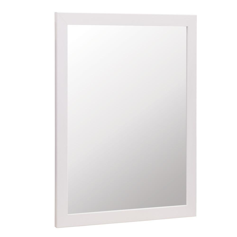 GlacierBay Glacier Bay Kinghurst 29 in. W x 35 in. H Framed Vanity Mirror in White