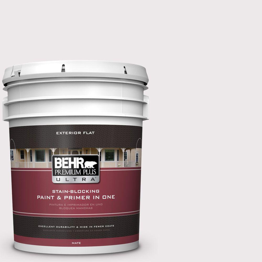 BEHR Premium Plus Ultra 5-gal. #PR-W4 Opulent Opal Flat Exterior Paint