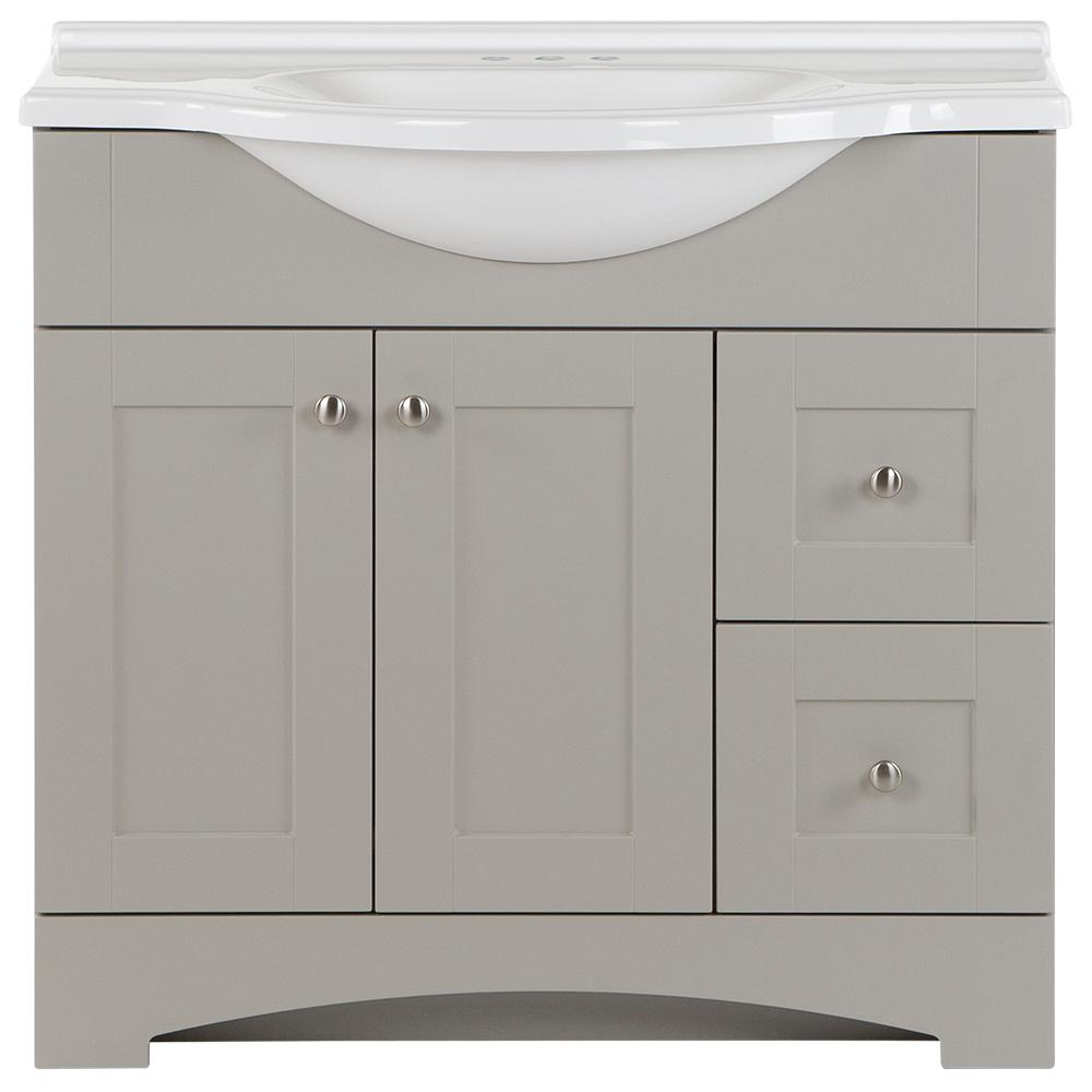 Glacier Bay Del Mar 37 in. W x 18.78 in. D x 36.38 in. H Bath Vanity in Gray w/ Cultured Marble Vanity Top in White w/ White Basin