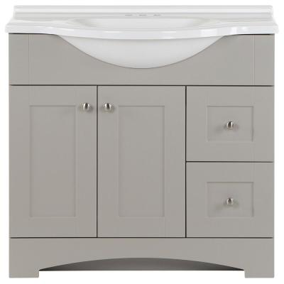 Del Mar 37 in. W x 19 in. D Bath Vanity in Gray with Marble Vanity Top in White with White Sink
