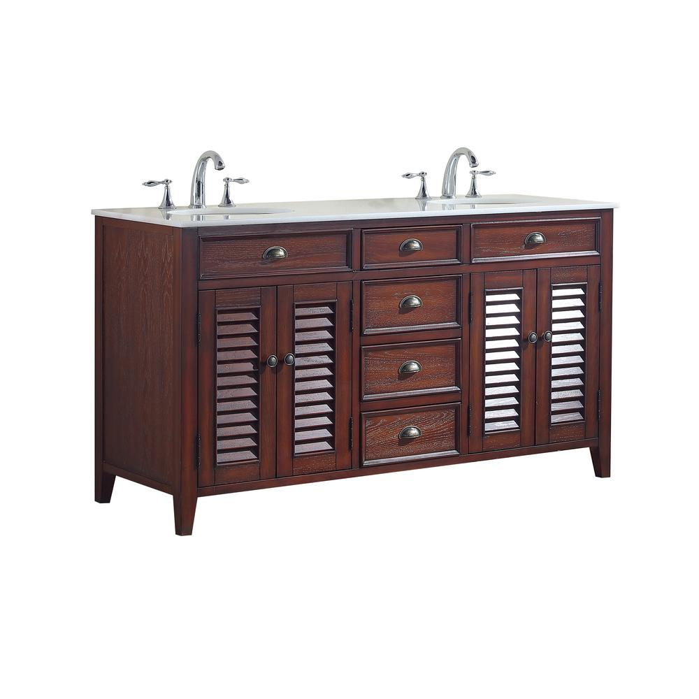Palm Beach 60 In W X 21 75 In D Vanity In Brown With