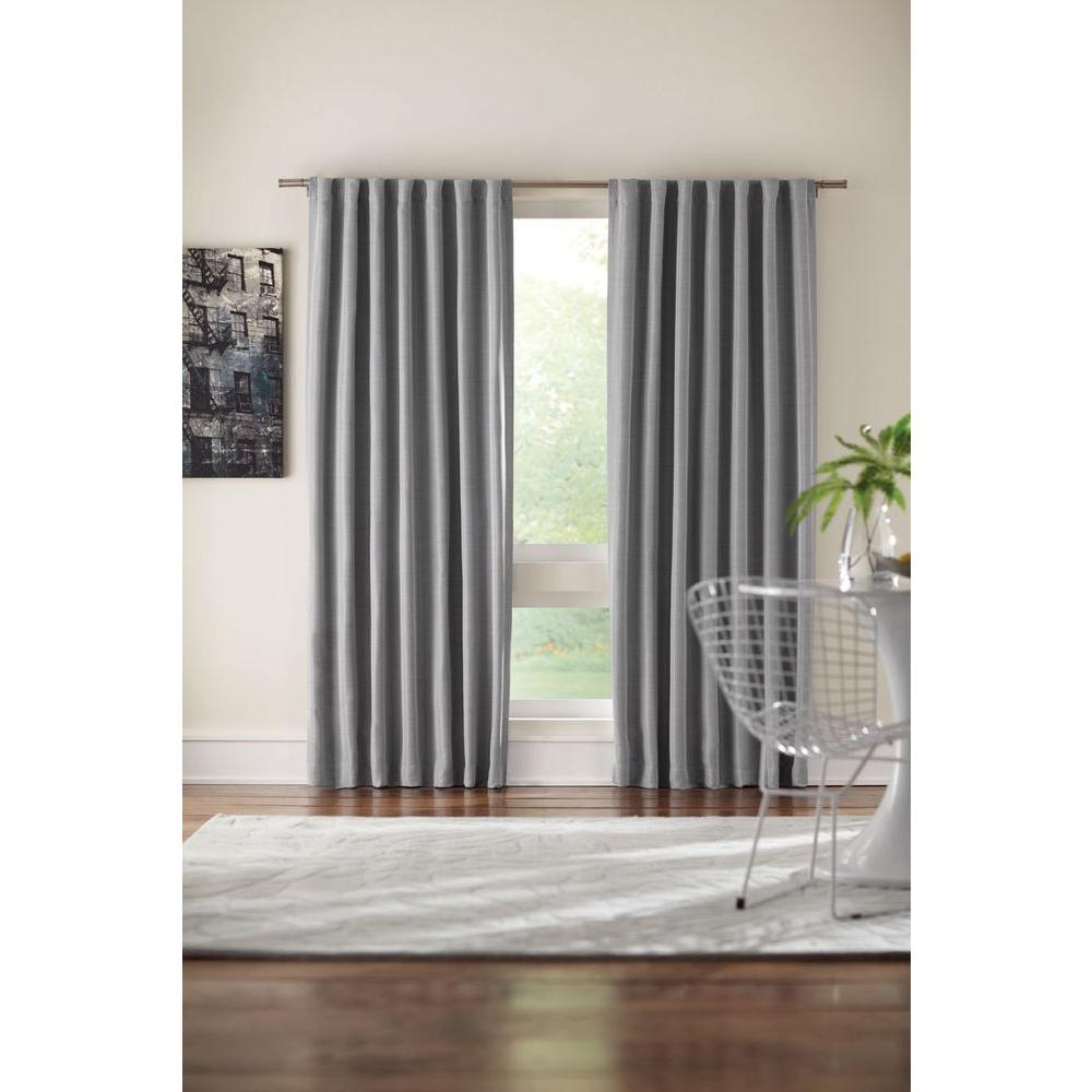 Home Decorators Collection Semi Opaque Gray Room Darkening Back Tab Curtain 1623966 The Home Depot