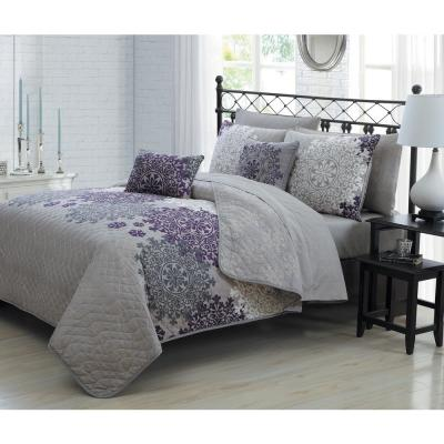 Amber 9-Piece Plum Queen Quilt Set