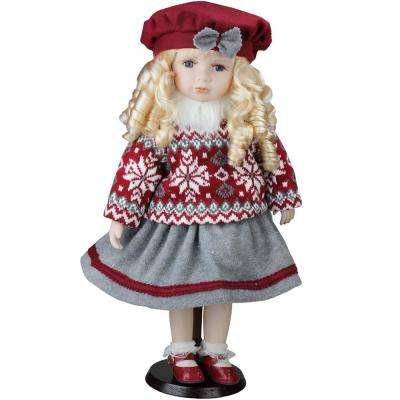 17.5 in. Porcelain Becca in Red Beret Standing Collectible Christmas Doll