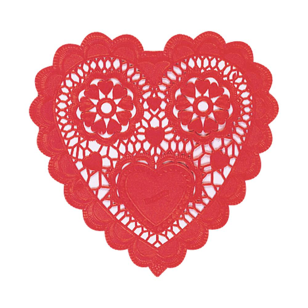 Amscan 10 In Valentines Day Red Paper Heart Shaped Doilies 12 Doyleys Count