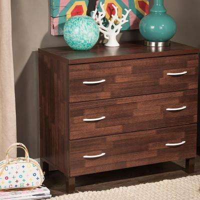 Maison Contemporary 3-Drawer Dark Brown Wood Finish Wood Chest
