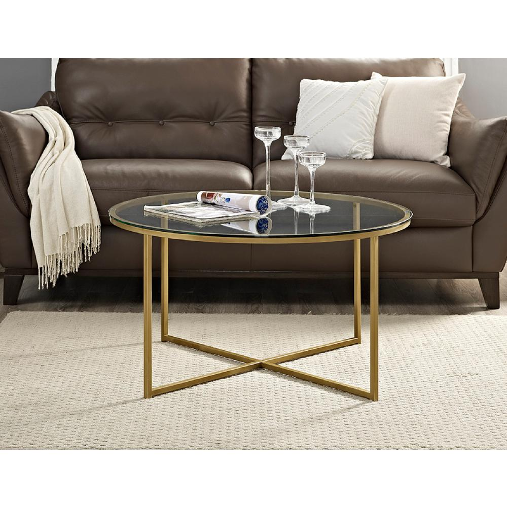 36 Inch Round Glass Coffee Table: Walker Edison Furniture Company 36 In. Glass/Gold Coffee