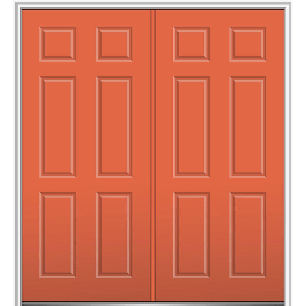 64 in. x 80 in. 6-Panel Left-Hand Inswing Classic Painted Steel Prehung Front Door