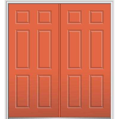 64 in. x 80 in. Classic Left-Hand Inswing 6-Panel Painted Fiberglass Smooth Prehung Front Door with Brickmould