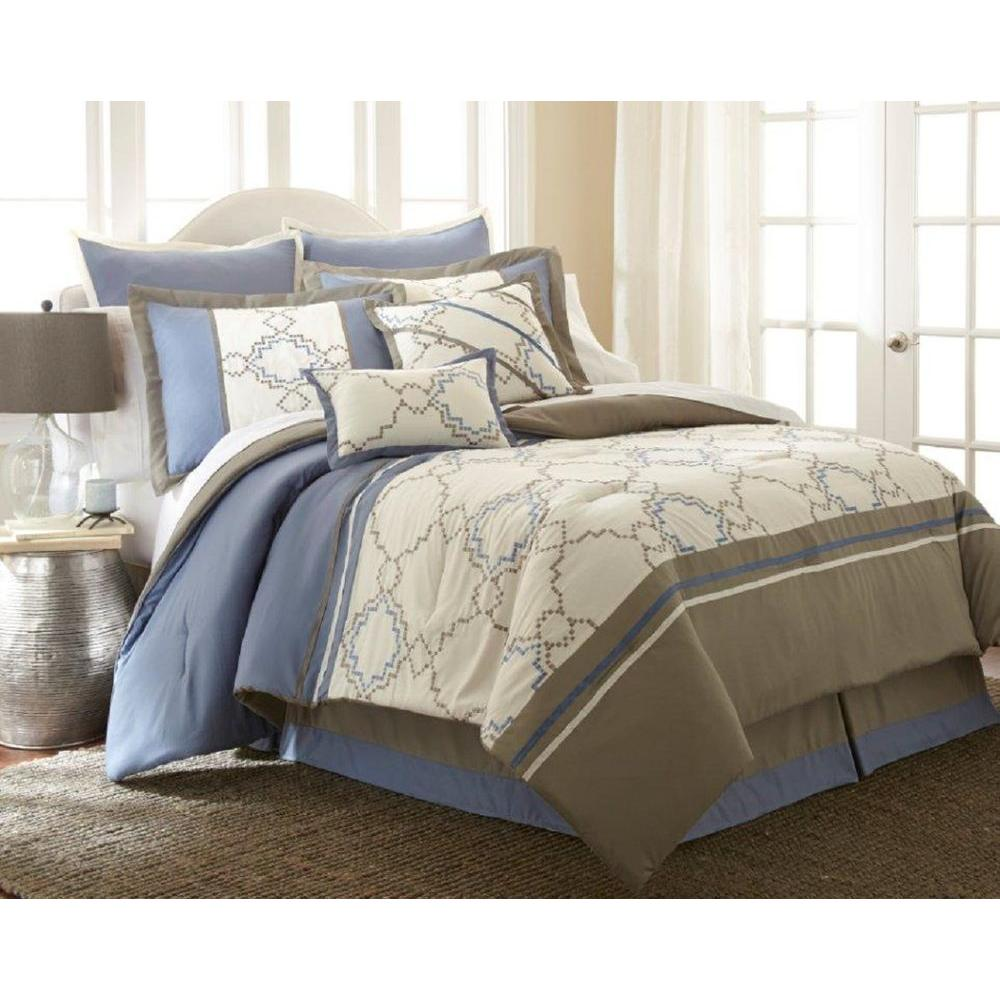 Pacific Coast Textiles Talia Ivory/Blue 8-Piece Embroidered King Comforter Set