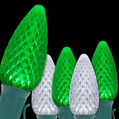 OptiCore 49 ft. 50-Light LED Green and Cool White Faceted C9 String Light Set