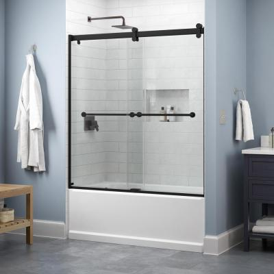 Everly 60 in. x 58-3/4 in. Contemporary Sliding Frameless Bathtub Door in Matte Black with Clear Glass