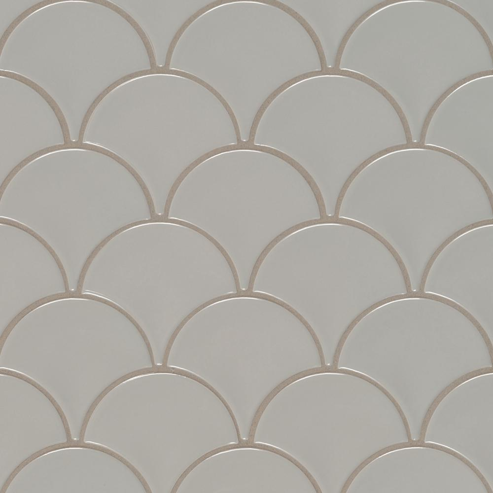 Msi Gray Glossy Fish Scale 10 74 In X 10 2 In X 10 Mm Porcelain Mesh Mounted Mosaic Tile 12 94 Sq Ft Case