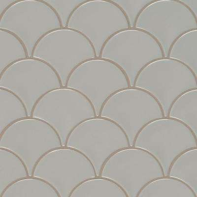 Gray Glossy Fish Scale 10.74 in. x 10.2 in. x 10 mm Porcelain Mesh-Mounted Mosaic Tile (12.94 sq. ft. / case)