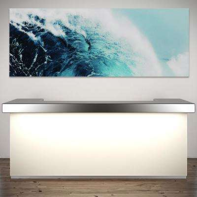 "24 in. x 63 in.""Blue Wave 1"" Frameless Free Floating Tempered Glass Panel Graphic Art"