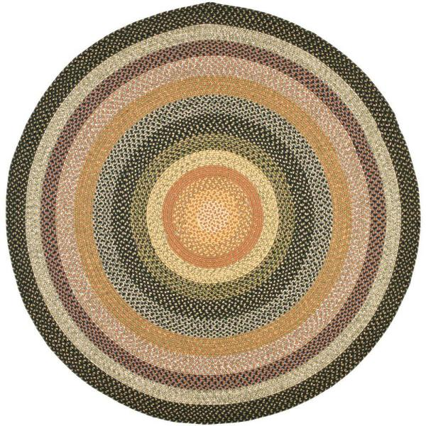 Braided Blue/Multi 8 ft. x 8 ft. Round Area Rug