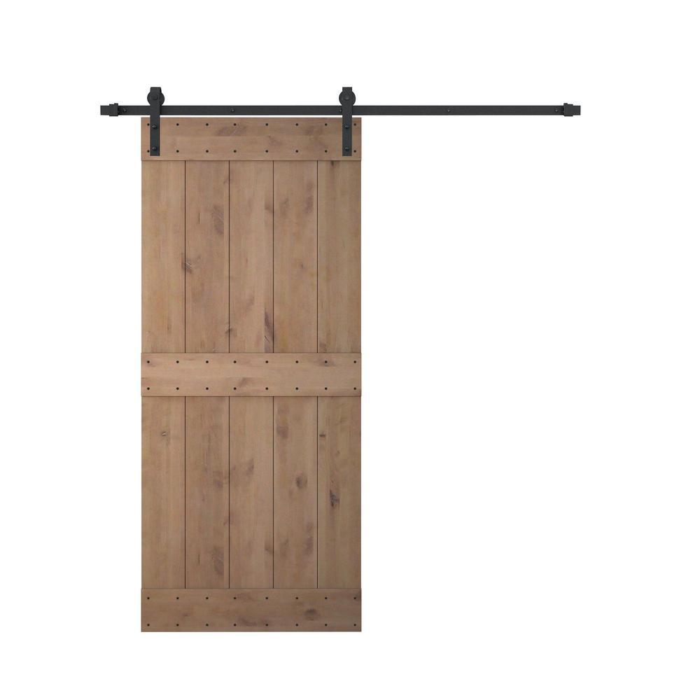 36 in. x 84 in. Vertical Slat 2-Panel Primed Natural Wood Sliding Barn Door with Sliding Door Hardware Kit