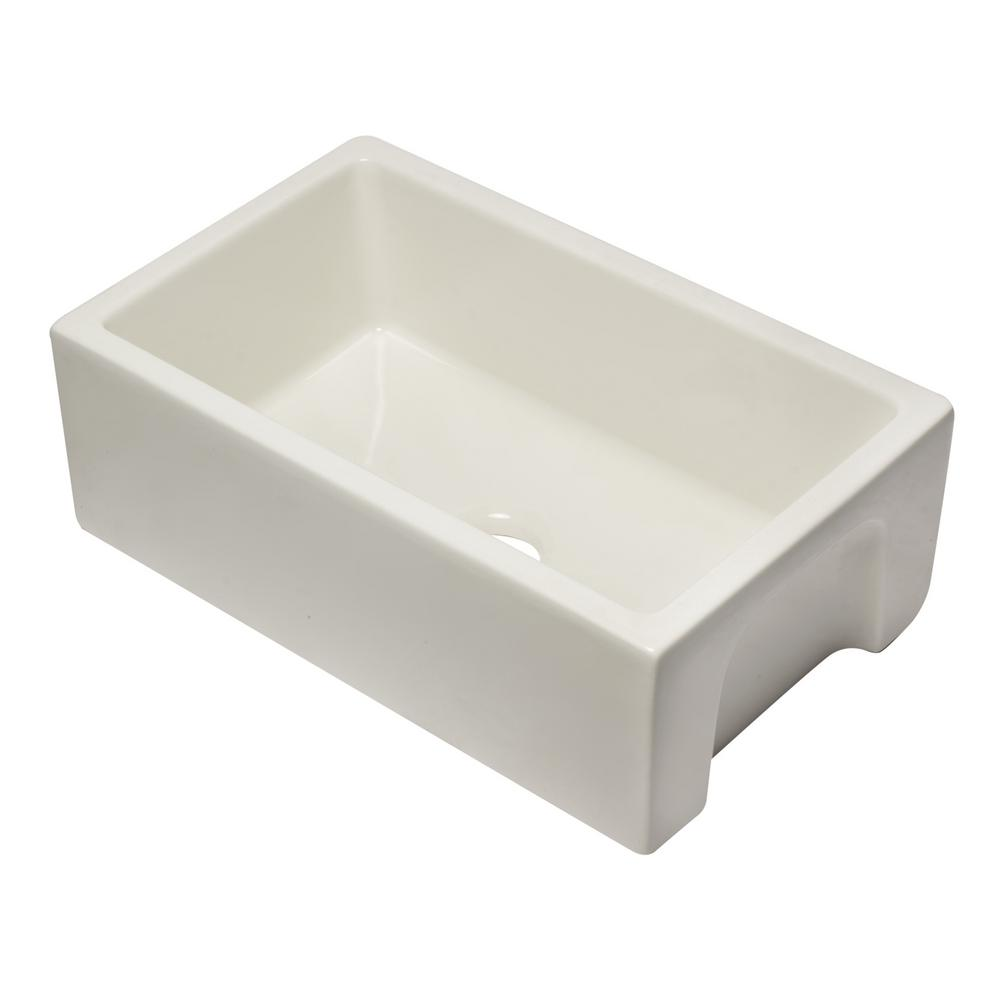 AB3018HS-B Farmhouse Fireclay 29.88 in. Single Bowl Kitchen Sink in Biscuit
